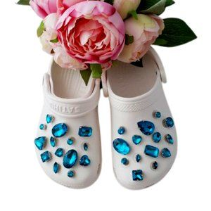 Croc Shoe Charm Pendant Rhinestone Charms TEAL